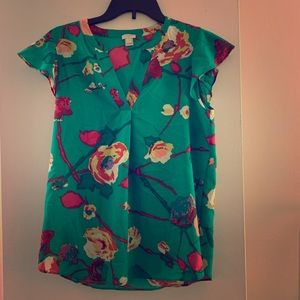 Green & pink floral short sleeve blouse
